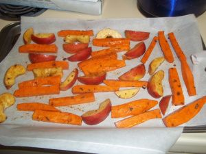 roasted sweet potatoes and apples - BLW recipe