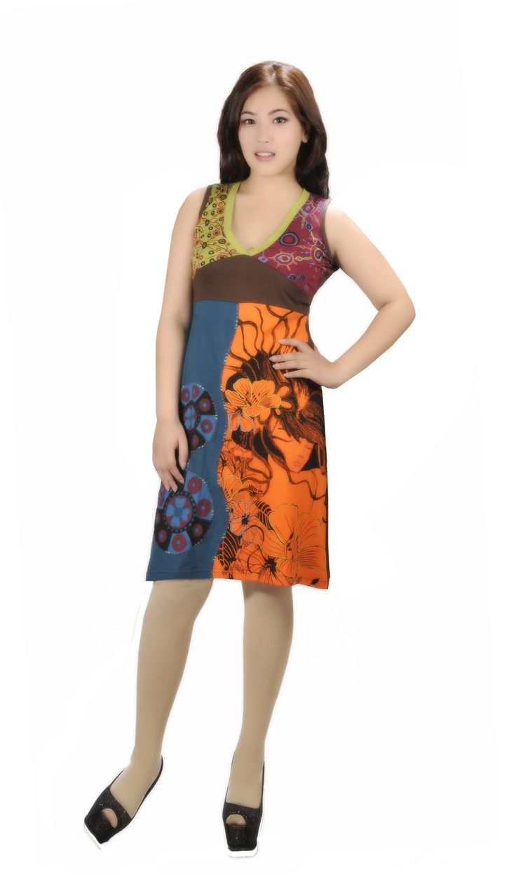 New style dress with multicolored and front embroidery.Style it with adding up different accessories!!!