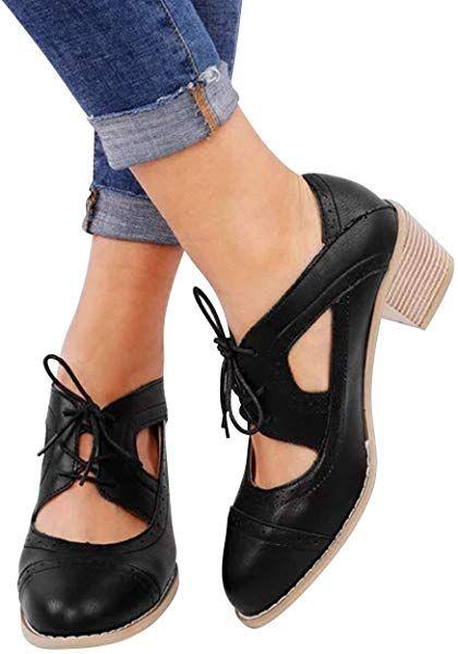 84fb89b848 Amazon.com | Athlefit Women's Cut Out Ankle Boots Breathable Vintage Oxford  Block Heel Pumps Size 5.5 Black Leather | Pumps