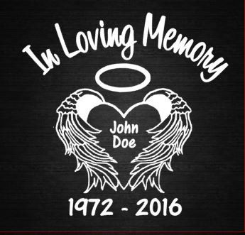 In Loving Memory Heart Wings Window Decal Personalize