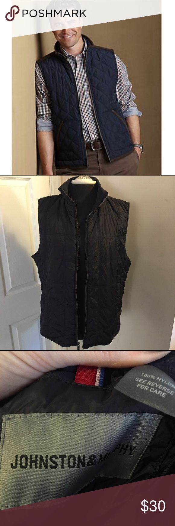 Johnston & Murphy navy blue quilted puffer vest Johnston & Murphy navy blue quilted thin puffer vest. Size is missing but I am a women's large and if fits so I would safely call it a men's medium. First photo is a similar but different vest from Johnson & Murphy. Johnston & Murphy Jackets & Coats Vests