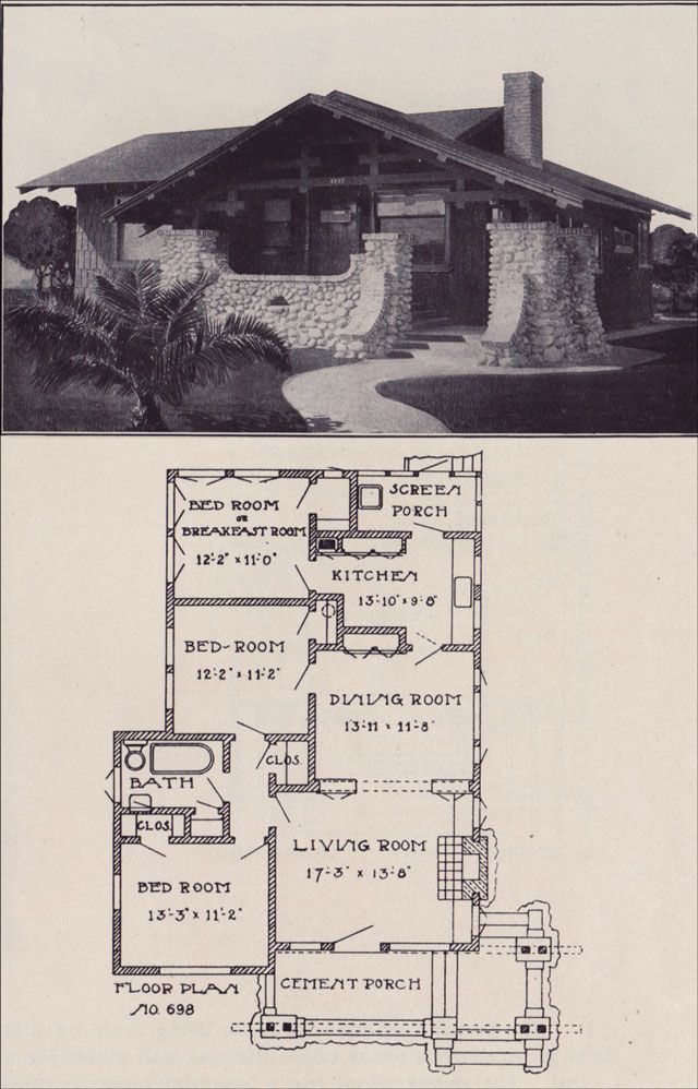 1912 Small California Bungalow Plan Los Angeles