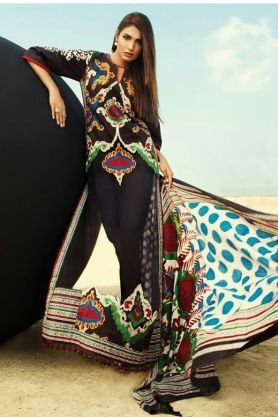 Pashmina Pakitani Black Multi Color Printed Suit With Pashmina Shawl