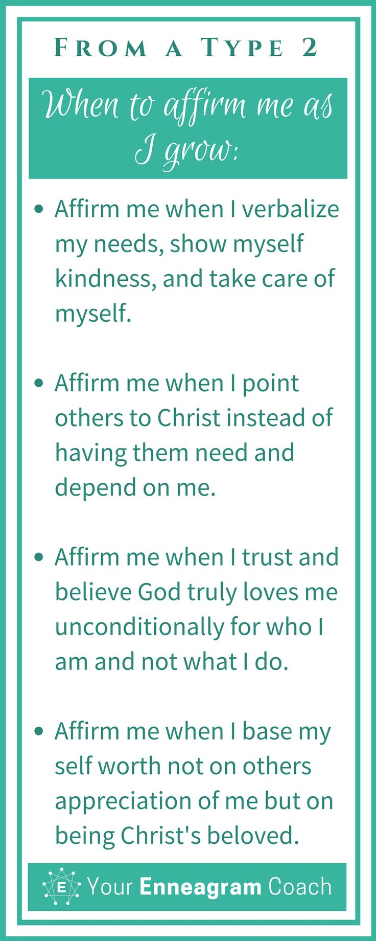 Ever wondered how to affirm the Type 2 person in your life? Here are some helpful suggestions so that they will truly feel affirmed from you. Bless them today with one of these affirmations. Beth McCord Your Enneagram Coach