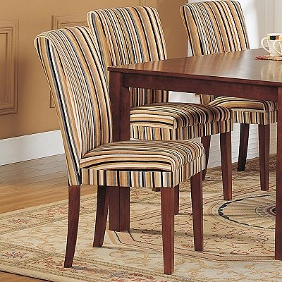 Attractive Parsons Striped Dining Chair Set