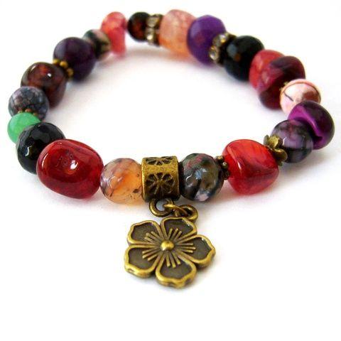 Az ősz utolsó virága... - színes ásvány és réz karkötő rubin, achát és ónix ásvánnyal (ButterflyJew) - Meska.hu