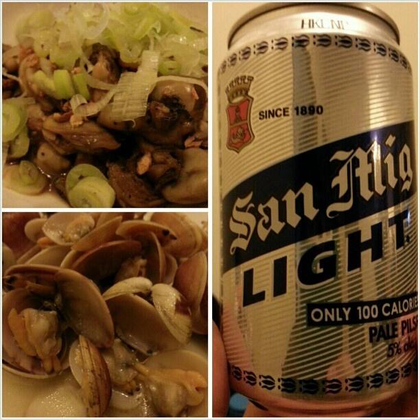 #おつまみは#牡蠣 と#あさりバター #oyster and #clam with #butter for #appetizer #drink #sanmig #light #beer #philippines#フィリピン