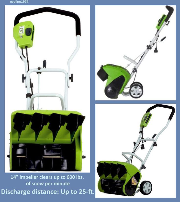 """Electric Snow Thrower, 16""""Corded Snow Shovel, Winter Blower Sidewalk Path Clears #Greenworks"""