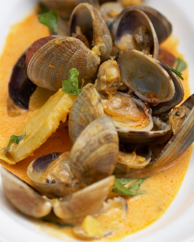 Clams With Chorizo, Citrus and Saffron Aioli recipe courtesy Tyler Florence