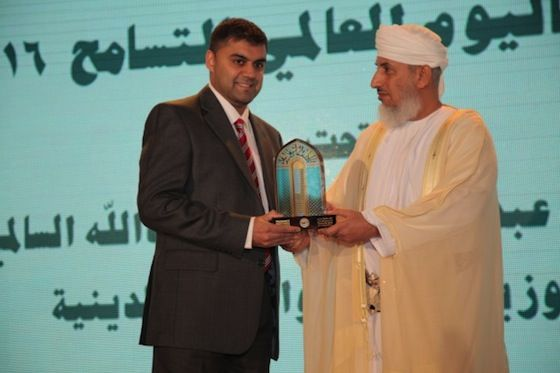 One of De Montfort University Leicester's collaborative partners has been recognised at a major international conference in Oman for promoting religious tolerance, understanding and coexistence.