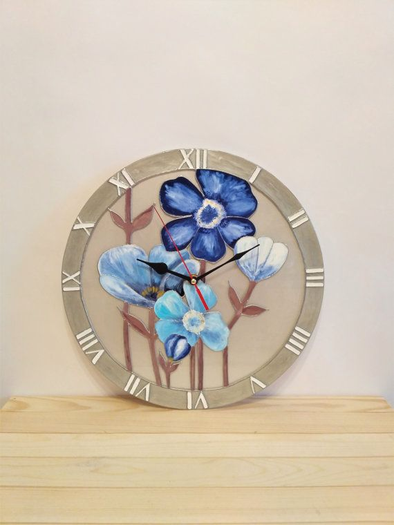 Hey, I found this really awesome Etsy listing at https://www.etsy.com/ru/listing/504785113/stained-glass-wall-clock-blue-flowers