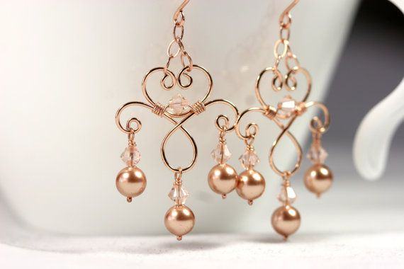 Rose Gold Chandelier Earrings Wire Wrapped by JessicaLuuJewelry