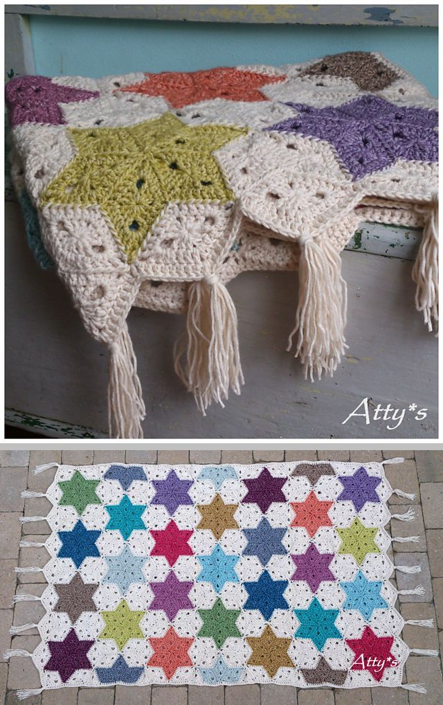 Atty's Star Blanket, free pattern with very detailed step-by-step photo tutorial for the diamond motif & join-as-you-go process