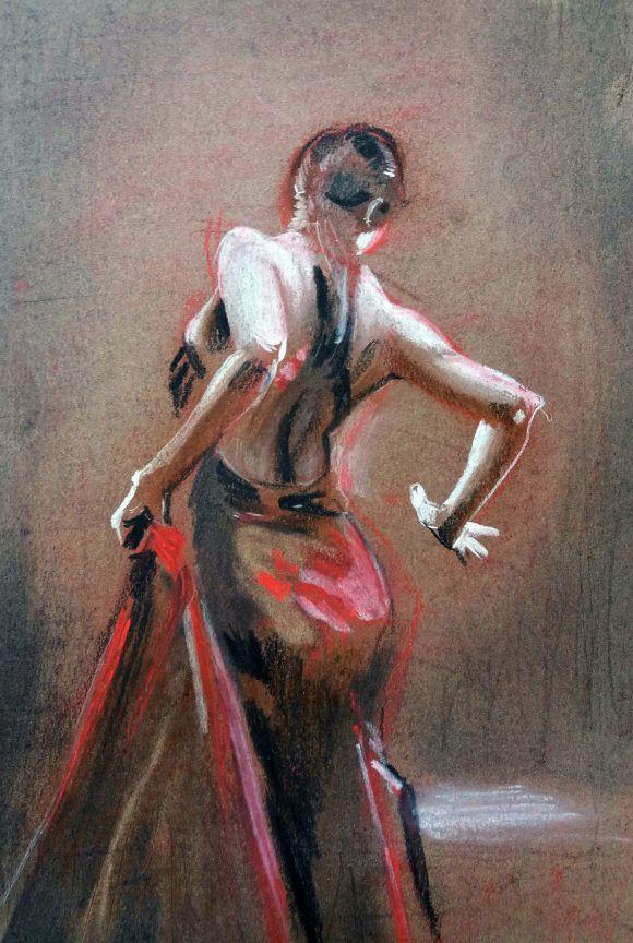 ArtMasters PURE Flamenco | Kohle | Pastellkreide | Tanzende Frau mit rotem Kleid | Leinwand | Kreative Events