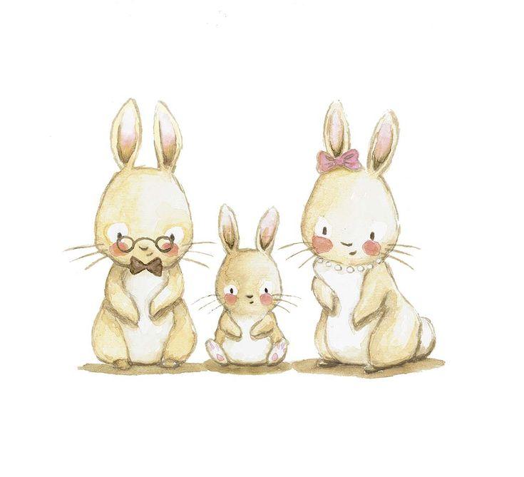Family bunny illustration