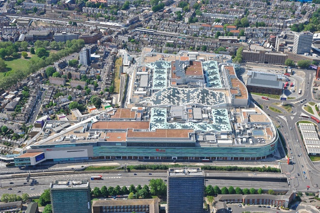 An aerial photograph of Westfield Shopping Centre in White City / Shepherds Bush, West London