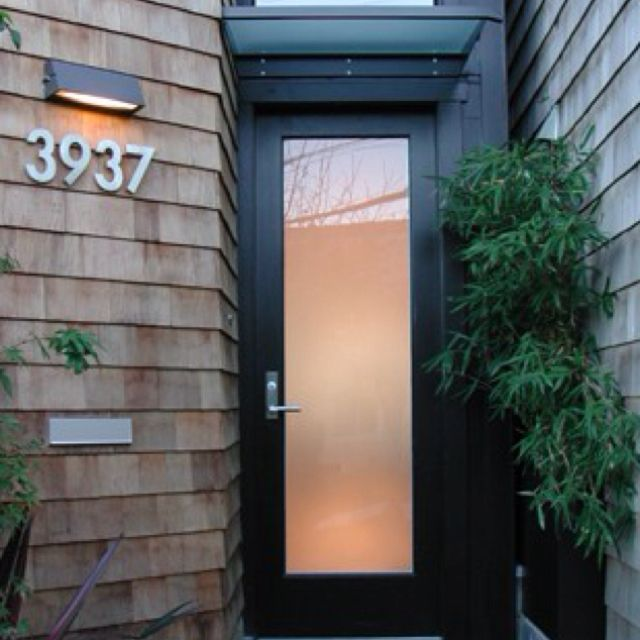 Modern front door with frosted glass doors pinterest Modern glass exterior doors