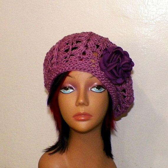 a96bc713cc4 Beret Hat Summer Purple Slouchy Cotton Crochet Womens Tam Chemo Boho Mesh  Open Weave Beanie Rasta Mom Hat