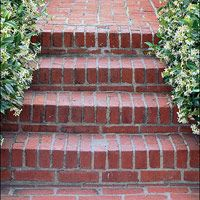 Mortaring bricks to steps requires a poured concrete foundation that is solid and has a surface in good repair. Bricks set in a rowlock (sho...