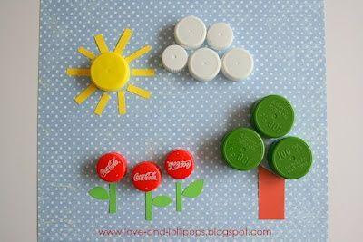 Kid Craft Ideas for Earth Day - Bottle Cap Picture