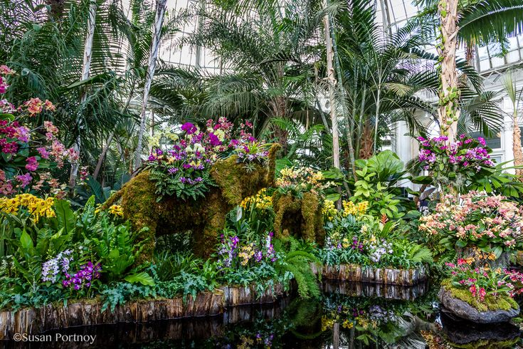Elephant topiaries inside Enid Haupt Conservatory NY Botanical Garden Orchid Show: Thailand