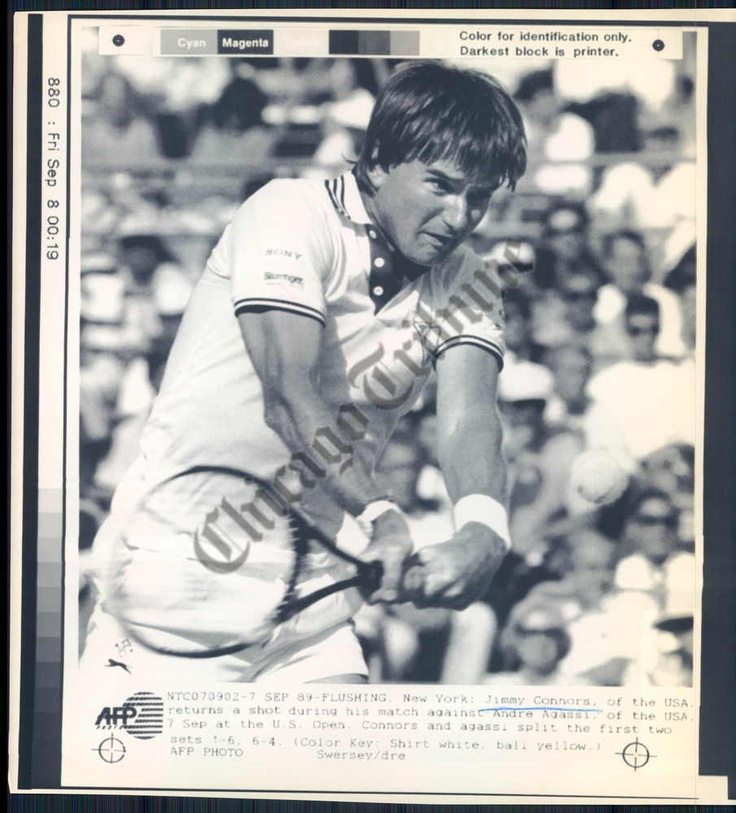 jimmy connors returns a shot during his match with andre agassi at the us open