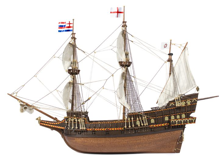 Side view of the galleon Golden Hind, commanded by Sir Francis Drake