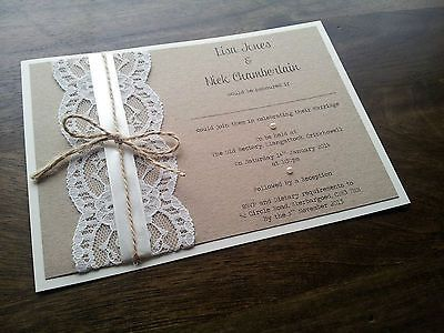 Handmade Vintage Shabby Chic Rustic Lace and Twine Wedding Invitation in Home, Furniture & DIY, Wedding Supplies, Cards & Invitations | eBay