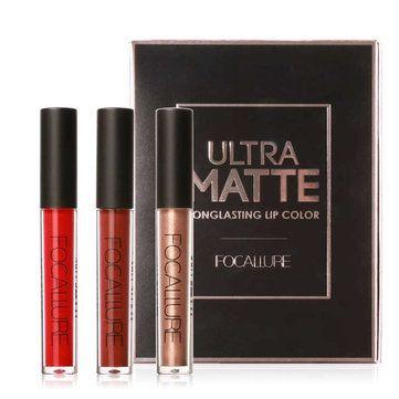 <b>FOCALLURE</b> 3Pcs/Kit Lip Gloss Metal Matte <b>Liquid Lipstick</b> ...