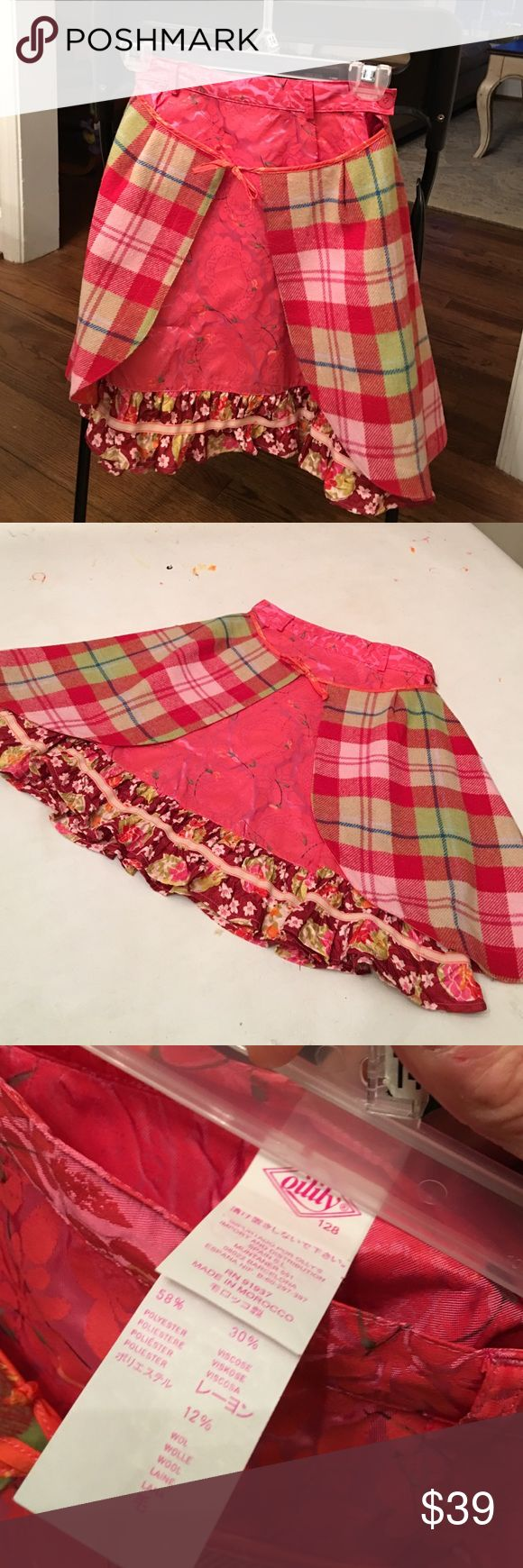 Awesome oilily multi color skirt for girls Beautiful skirt. Colorful. Bottom layer polyester/viscose. Attached with a wool layer over. Like new condition. Size 128 European which is like a girls 7/8. Oilily Bottoms Skirts