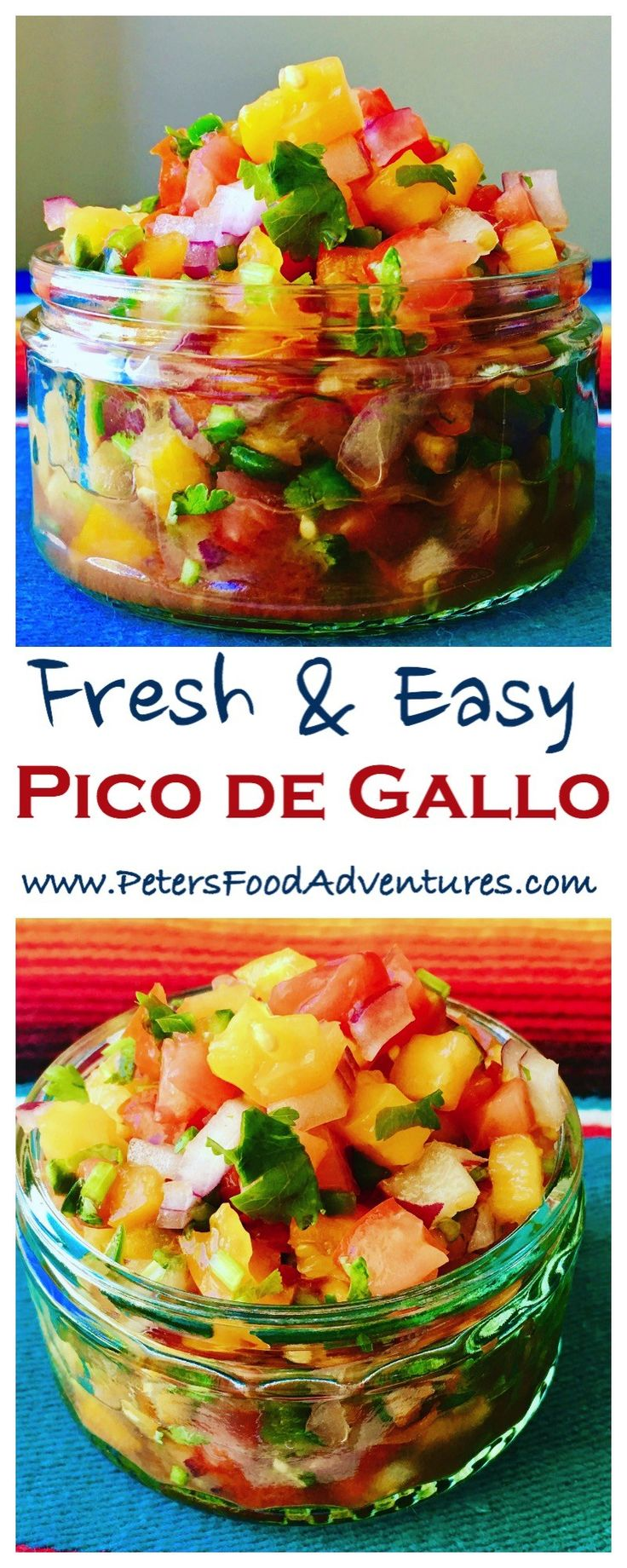 Easy made fresh salsa with chopped heirloom tomatoes, onions, jalapeños, cilantro and lime. Colorfully delicious! Perfect to dip nachos, tacos, fajitas or simply tortilla chips - Salsa Fresca - Pico de Gallo