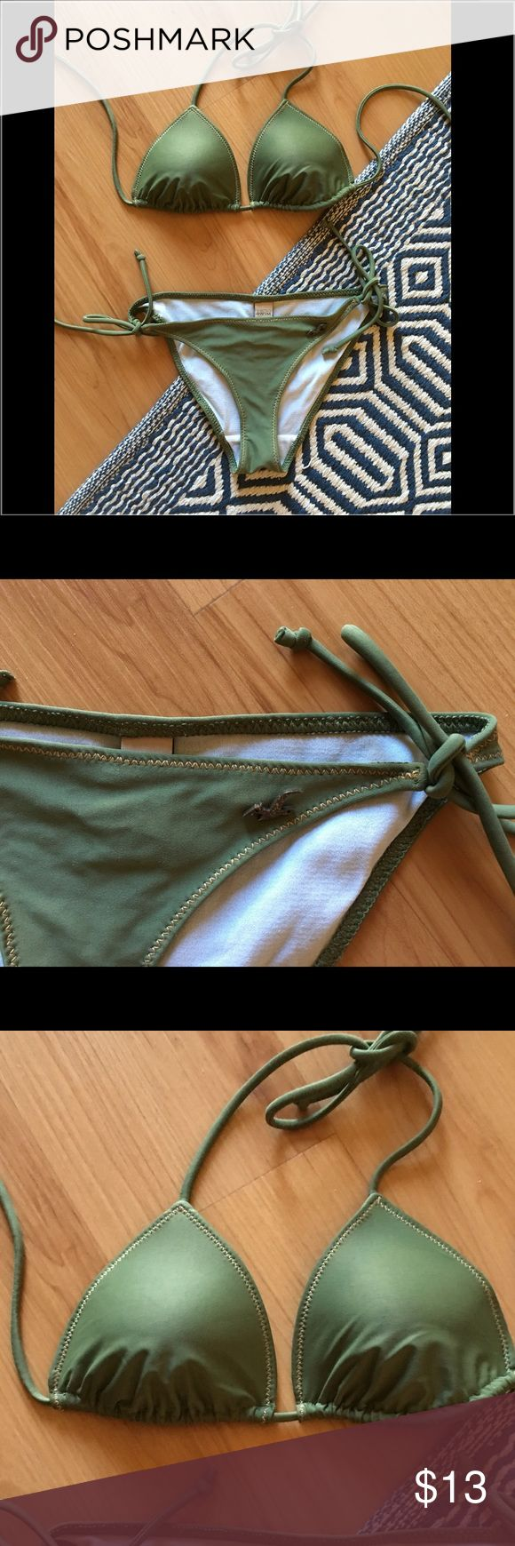 Olive green triangle bikini Like new condition. Barely worn. True to size. Not thick padding but the bikini top has form and is not cloth thin. Hollister Swim Bikinis