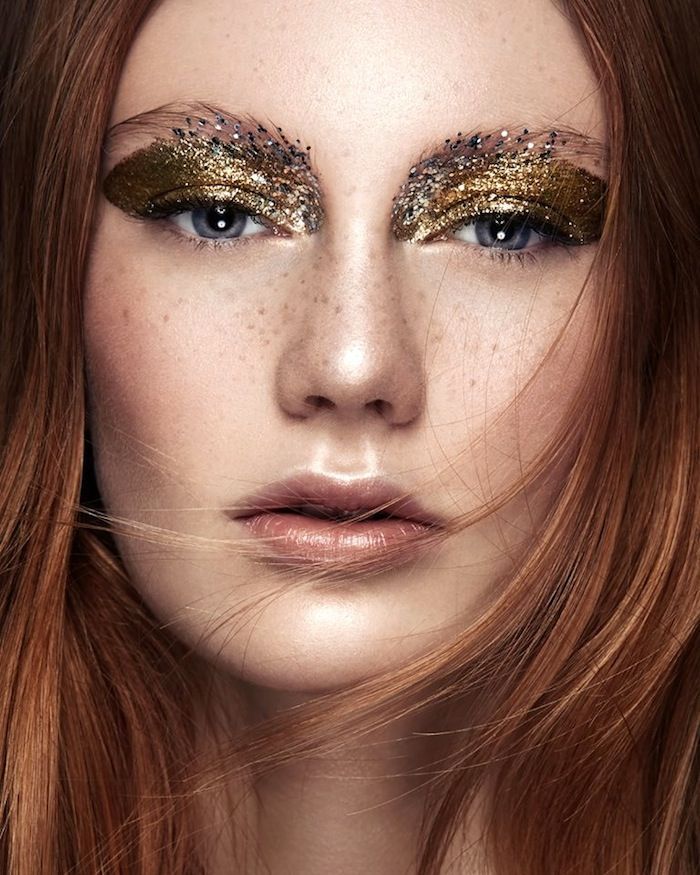 Gold and silver glitter eye makeup // Photo by Ruo Bing Li