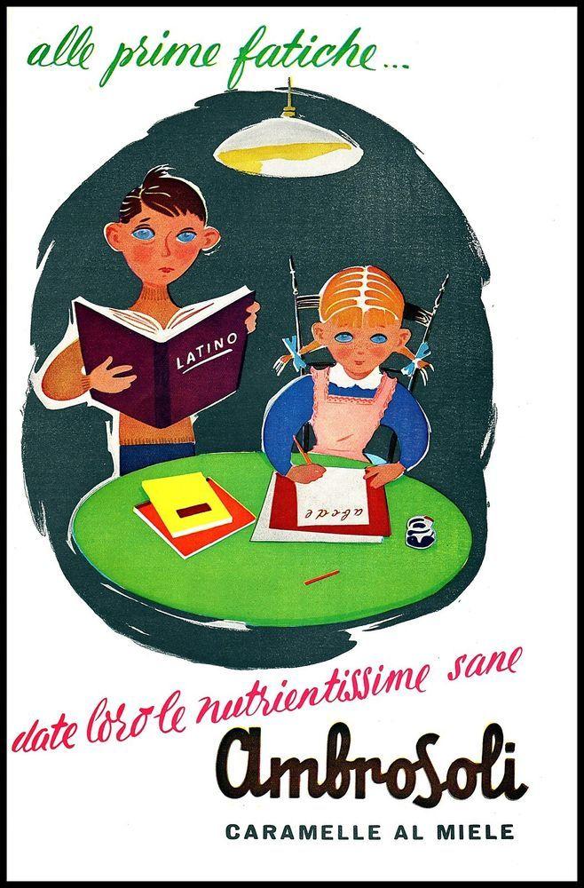 CARAMELLE AL MIELE AMBROSOLI BAMBINI COMPITI SCUOLA SALUTE 1956