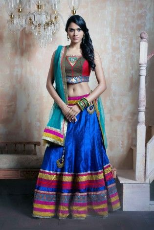 Style Diva Blue And Red Lehenga