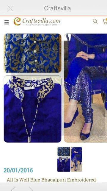 Blue brocade suit