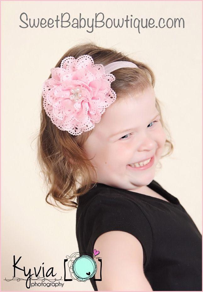 The Olivia Flower Pink Elastic Headband