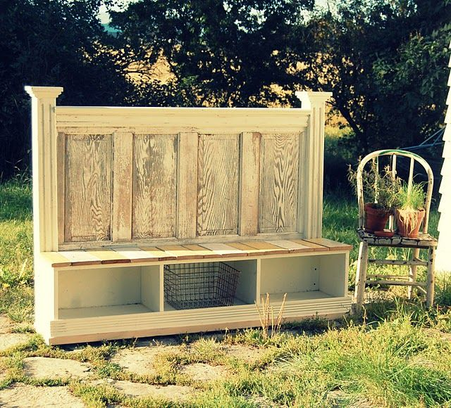 old door turned bench storage: Doors Headboards, Mudroom, Idea, Entryway Benches, Old Doors Projects, Mud Rooms, Outdoor Benches, Old Doors Benches, Repurpo