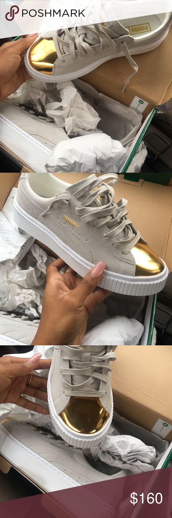 Brand new Puma Suede platform gold top Brand new never worn pumas. Not Rihanna  creepers but real pumas! Very cute shoe, no trades please! Puma Shoes Sneakers