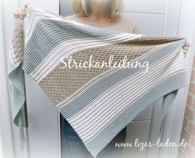 """**Anleitung für ein gestricktes Dreieckstuch**  1. Für dieses Tuch habe ich Lana Grossa """"Elastico"""" verwendet. Das Garn besteht aus 96 % Baumwolle und 4 %  Polyester und ist daduch leicht..."""