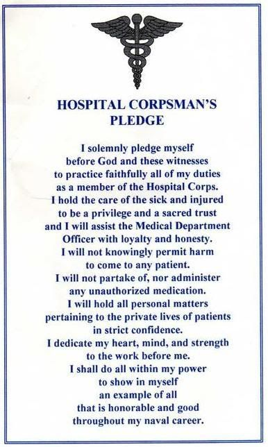 Our Oath, we took it at graduation from Corps School.