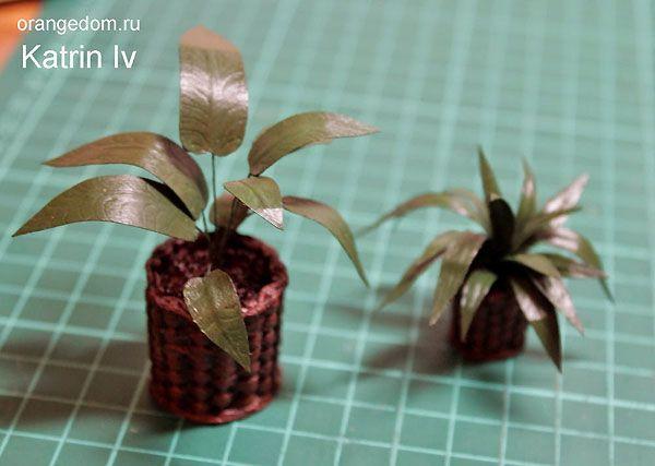 Миниатюрные цветы в плетеном кашпо для кукольного домика. Мастер-класс Катрин Ив