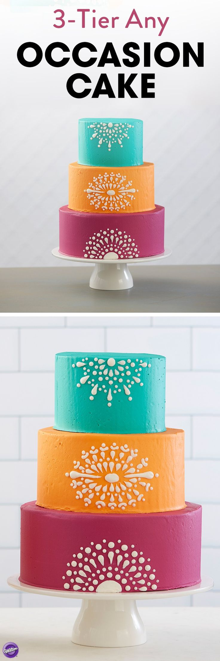 A stunning cake that shines with vibrant colors and intricate designs, this 3-Tier Any Occasion Cake is a wonder to behold. Large enough to feed about 60 people, this cake would be great for a small wedding, birthday party, wedding shower and more.