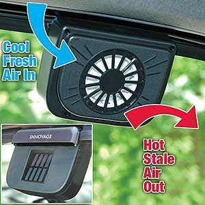 """wentylator solarny """"Autocool"""" umieszczany na szybie drzwi samochodu podczas upałów"""