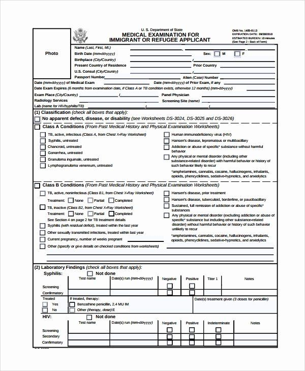 Physical Examination Form Template In 2020 Exam Physics