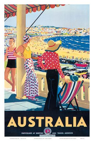 Australia Beach c.1929  By: Percy Trompf. Poster