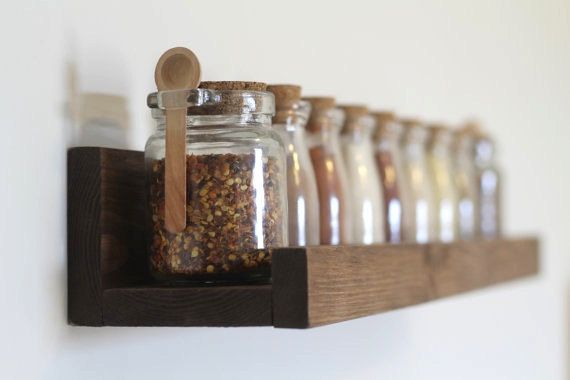 Rustic Wooden Spice Rack Ledge Shelf, Ledge Shelves, Wooden Rack, Rustic Home De…