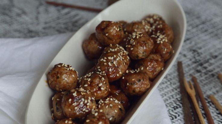 Boulettes (porc) collantes asiatiques