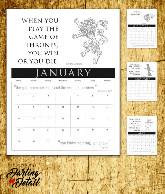 """Game of Thrones 2017 Calendar, Printable 8.5 x 11"""", each month with quotes from the film and books by George RR Martin. A Unique Christmas or Birthday Gift!  https://www.etsy.com/listing/452922636/game-of-thrones-inspired-2017-calendar"""