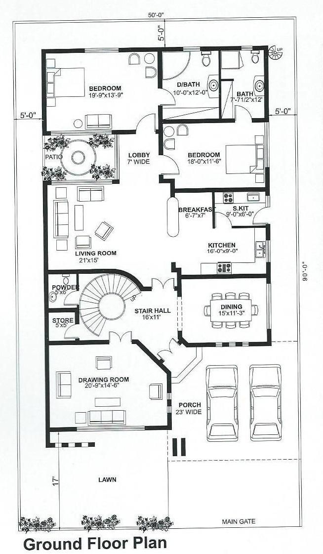 Pin By Huma Kazi On Floor Plan Single Storey House Plans Little House Plans My House Plans